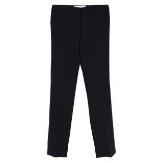 Christian Dior Black Silk Straight leg Pleat Trousers