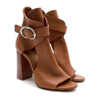 Chloe Millie Peep Toe Bootie in Tan Leather