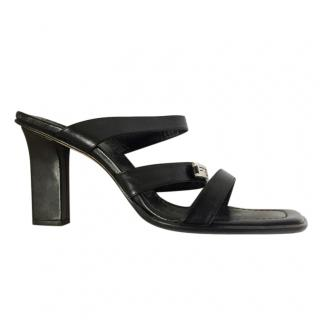 Fendi Black Leather Strappy Square Toe Sandals