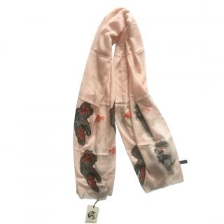 Paul Smith Cockatoo embroidered nude scarf