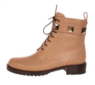 Valentino nude rockstud leather ankle boots