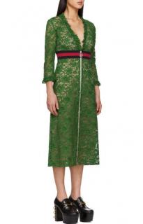 Gucci Green Lace Zip-Front Midi Dress