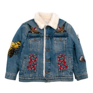 Gucci Kids Denim Shearling Embroidered Jacket