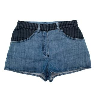 Chanel Denim Shorts with Striped Tulle Overlay