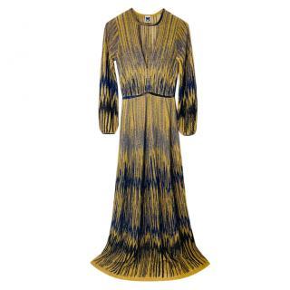 M Missoni gold & navy maxi dress
