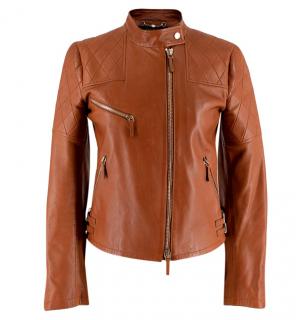 Gucci Tan Leather Asymmetric Biker Jacket