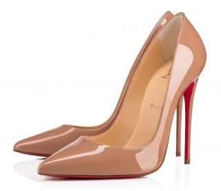 Christian Louboutin So Kate beige patent leather 120 pumps