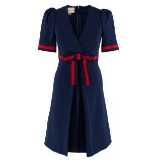 Gucci Navy Grosgrain-Trimmed Stretch-Ponte Mini Dress