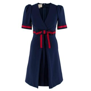 Gucci Navy Grosgrain-Trimmed Stretch-Ponte Mini Dress