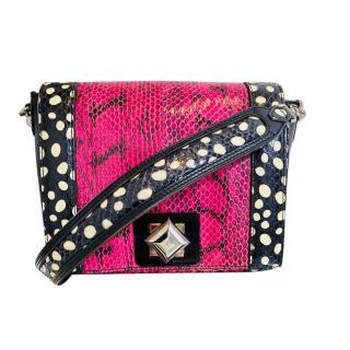Sonia Rykiel Pink Snakeskin Crossbody Bag