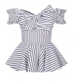 Caroline Constas Black & White Striped Artemis Top