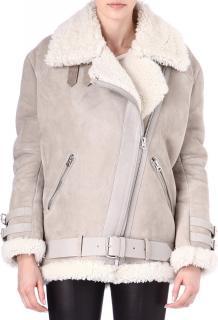 Acne Studios grey velocite shearling suede asymmetric jacket