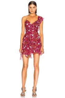 Isabel Marant Raspberry Lace Ruffled Mini Dress