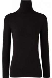 Joseph black turtleneck silk blend stretch knit sweater