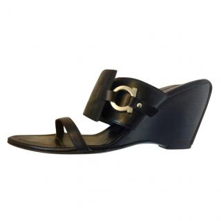 Salvatore Ferragamo Black Wedge Mules