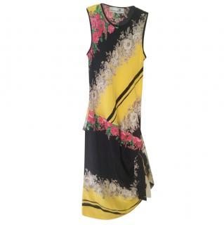 Prabal Gurung Floral Diagonal Print Sleeveless Silk Dress