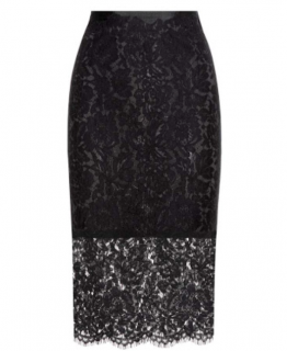 Diane Von Furstenberg Black Lace Pencil Skirt