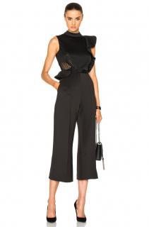 Self Portrait black embellishd cropped jumpsuit