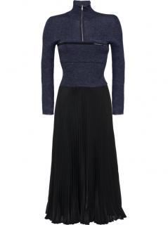 Prada Black Pleated Knit Midi Dress