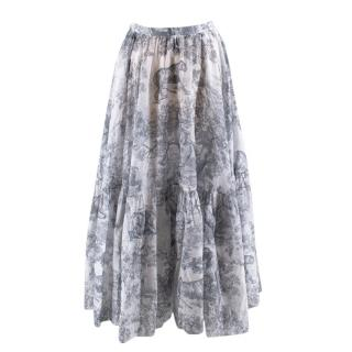 Christian Dior Toile De Jouy Printed Voile Skirt