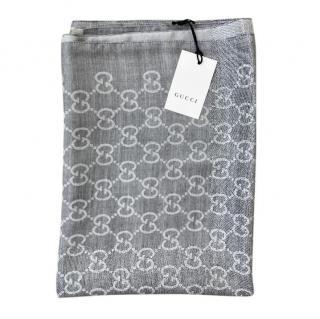 Gucci grey monogram wool blend scarf