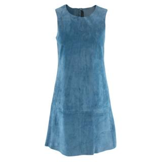 Balenciaga Blue Suede Sleeveless Mini Dress