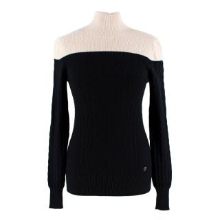 Chanel Two-Tone Knit Cashmere Blend Roll Neck Jumper