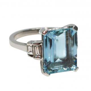 Bespoke 18ct white gold Aquamarine & Diamond ring