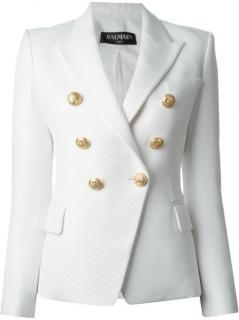 Balmain double-breasted white blazer