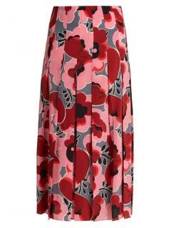 Gucci pink poppy silk pleated skirt