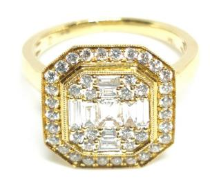 Bespoke 18ct yellow gold & diamond cluster ring