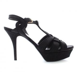 Yves Saint Laurent black glitter leather platform heeled sandals