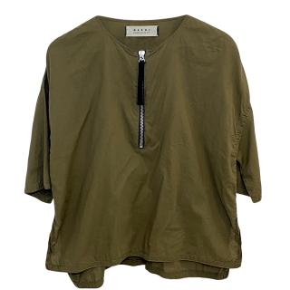 Marni khaki zip detail short sleeve top