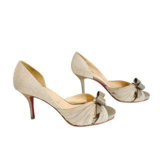 Christian Louboutin peep toe beige suede & leather bow pumps