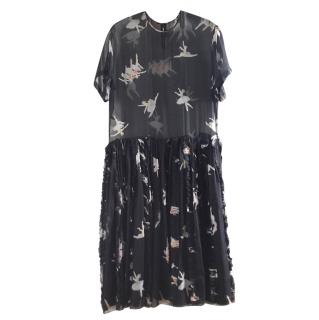 Rochas black silk ballerina print dress