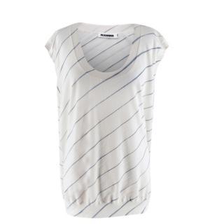 Jil Sander White Asymmetric Striped Knit Top