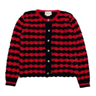 Gucci Kids Blue & Red Crochet Cardigan
