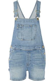 Frame blue denim dungaree shorts