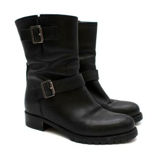 Prada Black Leather Biker Boots
