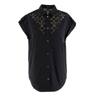 Louis Vuitton Black Button Down Fleur De Lis Lace Detail Blouse