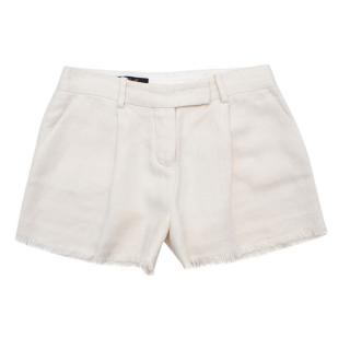 Loro Piana Tailored Ivory Linen Shorts