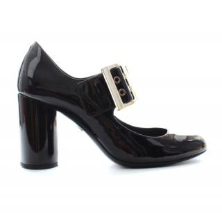 Lanvin black patent leather Mary Jane pumps