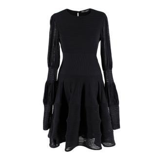 Alexander McQueen Black Ribbed Silk Dress