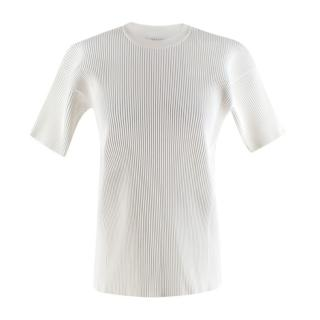 Victoria Beckham White Ribbed Knit Top