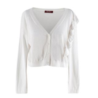 MaxMara Studio White Ruffle Trim Button Up Cardigan