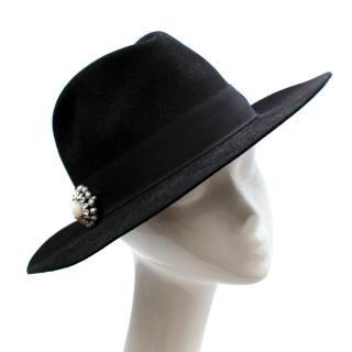 Saint Laurent Black Embellished Western Hat