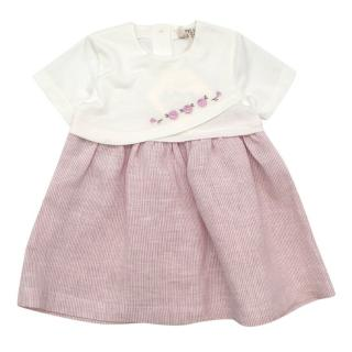 MiMu Ivory & Pink Embroidered Cotton Jersey Dress
