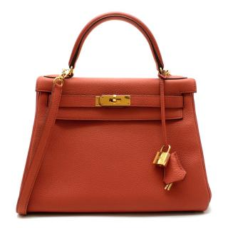 Herm�s Kelly Retourn� 28 in Rosy Togo Leather GHW