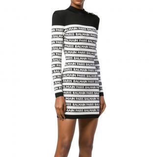 Balmain black & white fitted logo stripe dress