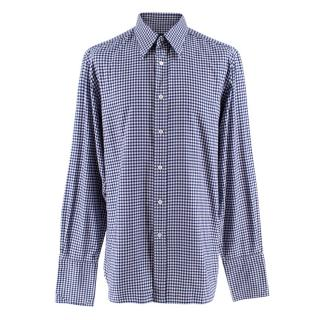 Tom Ford Blue Gingham Cotton Shirt